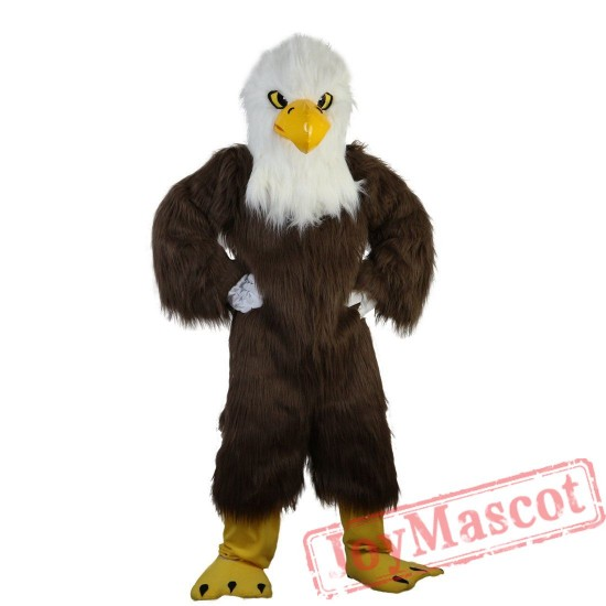 Brown Eagle Long Hair Mascot Costume for Adult