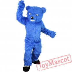 Blue Bear Long Hairy Mascot Costume for Adult