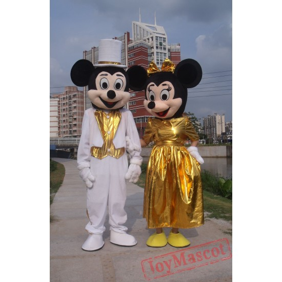 Disney Gold Mickey / Minnie Mouse Mascot Costume for Adult