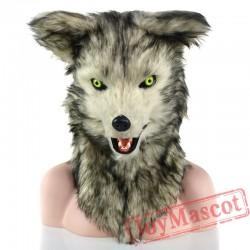 Animal White & Grey wolf Fursuit Head Mascot Head