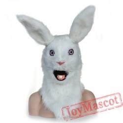 Animal White rabbit Fursuit Head Mascot Head