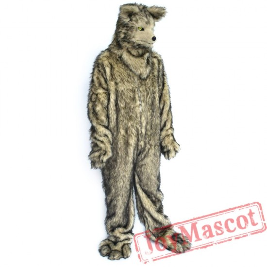Animal Grey Wolf Fursuit Mascot Costume for Adult