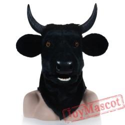 Animal Black cow Fursuit Head Mascot Head