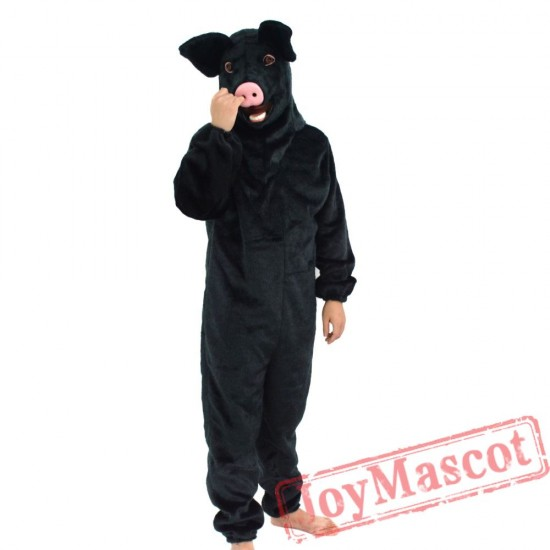 Animal Black pig Mascot Costume for Adult