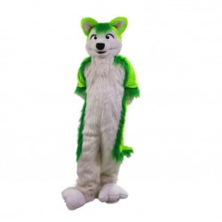 Green Wolf Husky Dog Mascot Costume