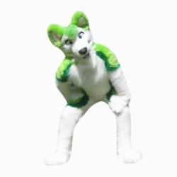 Plush Green Wolf Mascot Costume