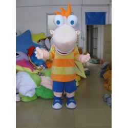 Long Face With A Big Nose Boy Mascot Costume