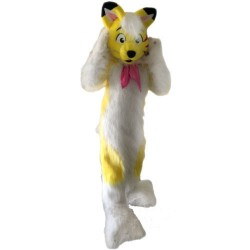 Pink Fox Husky Fursuit Mascot Costume