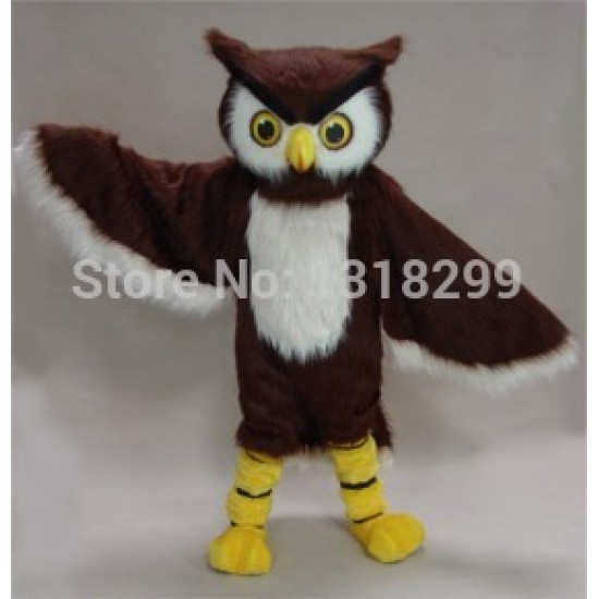 Clever Brown Owl Mascot Costume