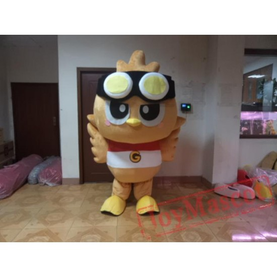 Brown Owl Mascot Costume With Black Grey Hat