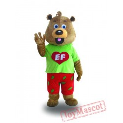 Professional Adult Bear Mascot Costume with Green Coat