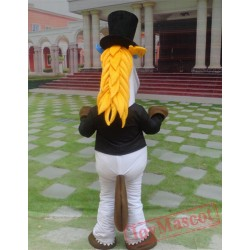 Animal Cartoon Gentleman Horse Mascot Costume