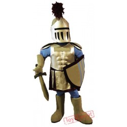 Blue & Golden Knight Mascot Costume