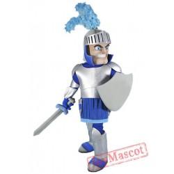 Silver & Blue Knight Mascot Costume