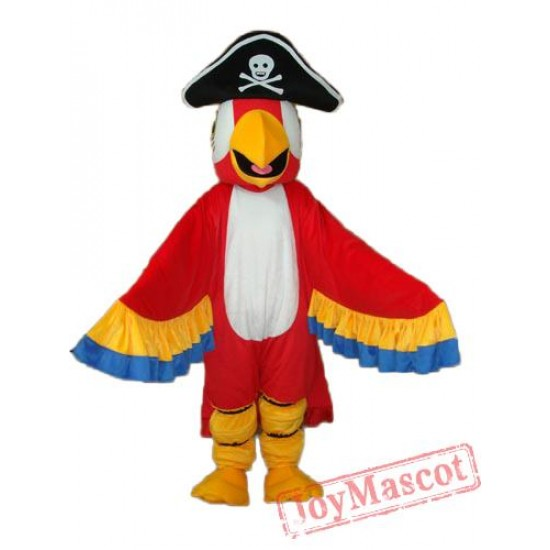 Red Pirate Parrot With Tail Mascot Adult Costume
