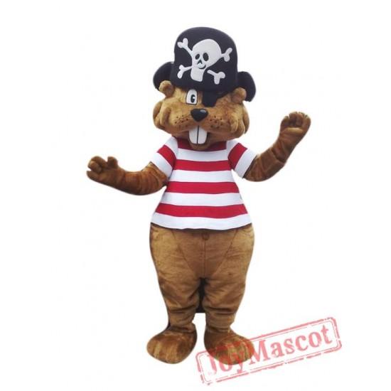 Pirate Beaver Mascot Costume