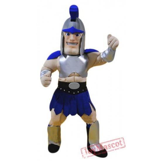Blue Spartan Mascot Costume