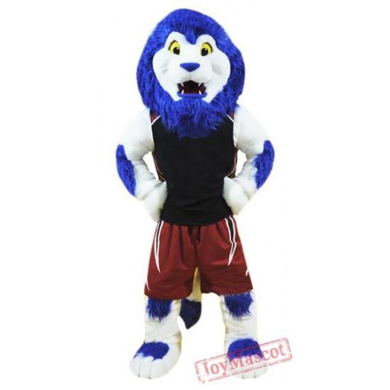 Blue Sport Lion Mascot Costume