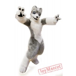 White Grey Wolf Mascot Costume