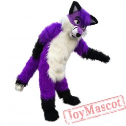 Plush Purple Wolf Husky Mascot Costume