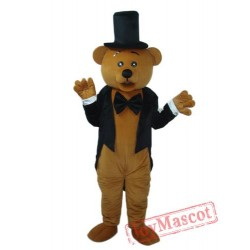 Bear In Black Suit Mascot Adult Costume