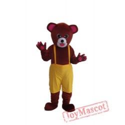 Brown Yellow Bear Mascot Adult Costume