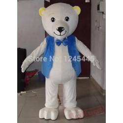 White Teddy Bear Mascot Costume