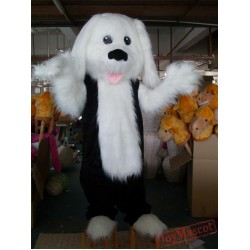 Plush Furry White And Black Puppy Dog Mascot Costume For Adult