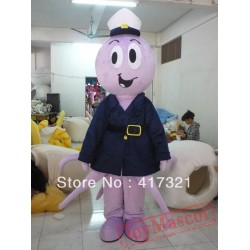 Mascot Costume Of Octopus With Police Clothing