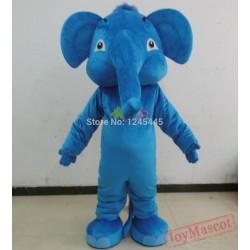 Blue Pink Dark Grey Adult Elephant Mascot Costume