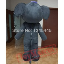 Blue Pink Dark Grey Adult Elephant Mascot Costume
