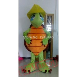 Funny Sea Turtle Mascot Costume With Yellow Hat