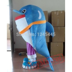 Hand Made Blue& White Dolphin Mascot Costume For Adult