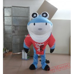 Cute Shark Mascot Costume With Funny Eyes For Adult