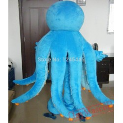 Blue Octopus Mascot Costume For Adults