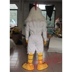 Adult White Rooster With Strong Muscle Mascot Costume