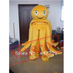 Yellow Octopus Mascot Costume For Adult