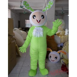 Plush Material Green Bunny Mascot Costume For Adult