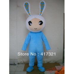 Plush Blue Bunny Mascot Costume For Adult
