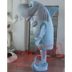 Blue And Grey Shark Mascot Costume Adult Shark Mascot
