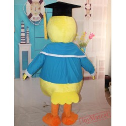 Yellow Duck Mascot Costume In Blue Adult Duck Costume