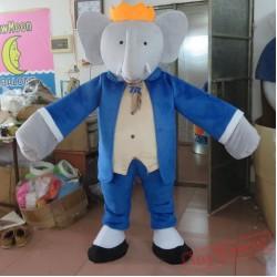 Dress In Blue Elephant Mascot Costume Eva Elephant Costume