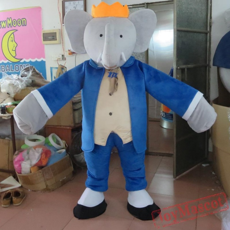 & Dress In Blue Elephant Mascot Costume Eva Elephant Costume