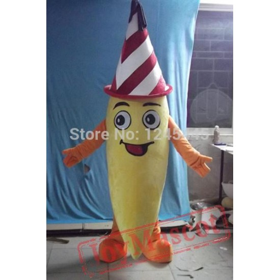 Fruit Mascot Costume With Streak Hat Banana Costume For Adult
