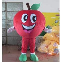 Happy Red Apple Mascot Costume For Adult