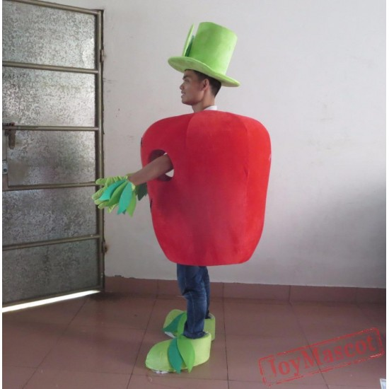 100% Kind Shooting Red Apple Mascot Costume With Smile Apple Costume For Adult