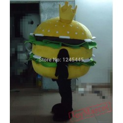 Crown Hamburger Mascot Costume With Vegetable For Adult
