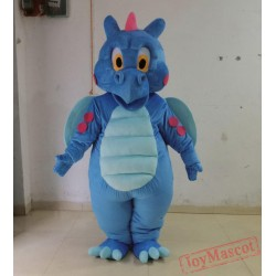 Cute Blue Dinosaur Mascot Costume For Adult