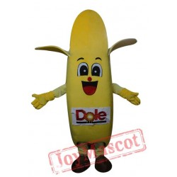Lovely Banana Mascot Costume With Smiling Face For Adult
