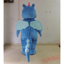 Blue Dinosaur Mascot Costume For Adult